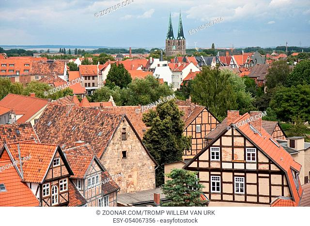 Cityscape of timbered houses in medieval city Quedlinburg, Germany