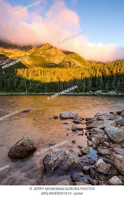 Scenery of Chimney Pond and Mount Katahdin, Baxter State Park, Maine, USA