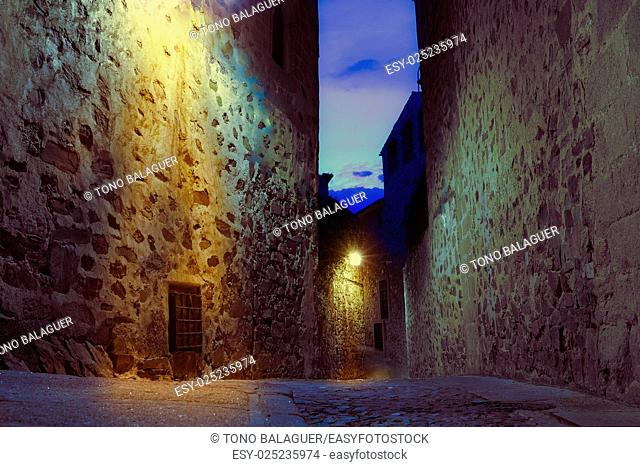 Caceres monumental city sunset in Extremadura of spain