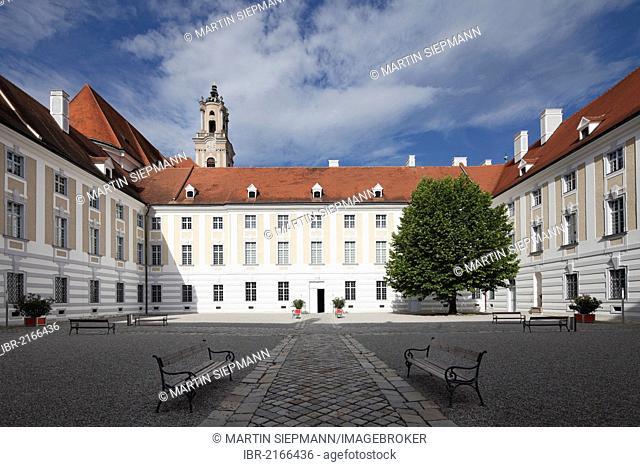 Courtyard, Herzogenburg Priory, monastery of the Augustinian Canons, Herzogenburg, Mostviertel, Must Quarter, Lower Austria, Austria, Europe