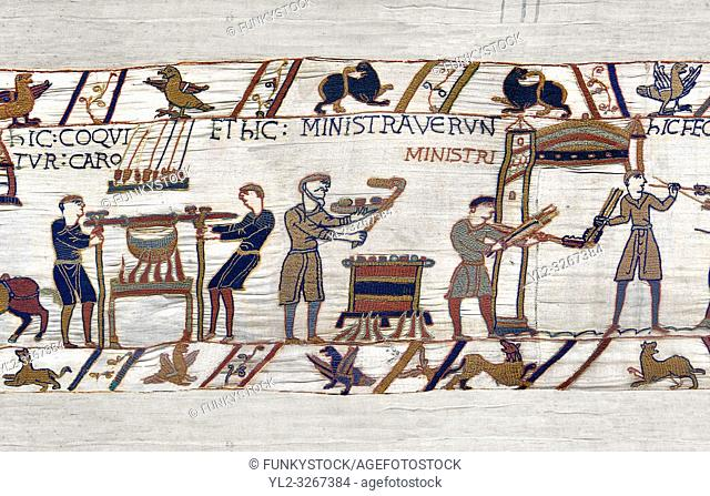 11th Century Medieval Bayeux Tapestry - Scene 42 - Williams servants roast meat and fowl