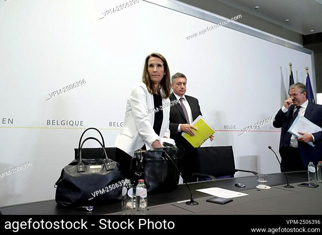 Belgian Prime Minister Sophie Wilmes leaves after a press conference following a meeting of the National Safety Council, consisting of politicians and...