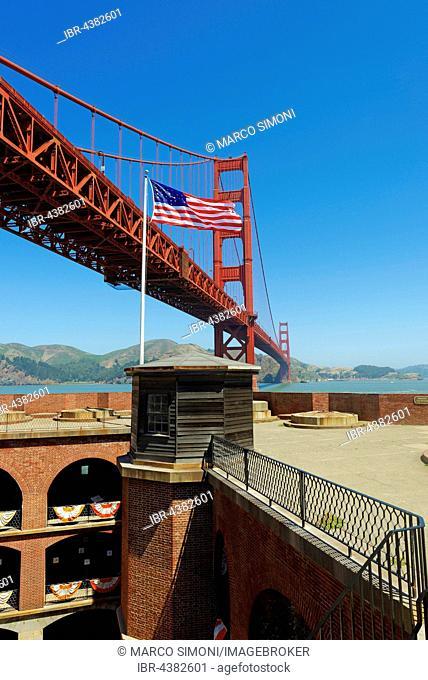 Fort Point with Golden Gate Bridge, San Francisco, California, USA