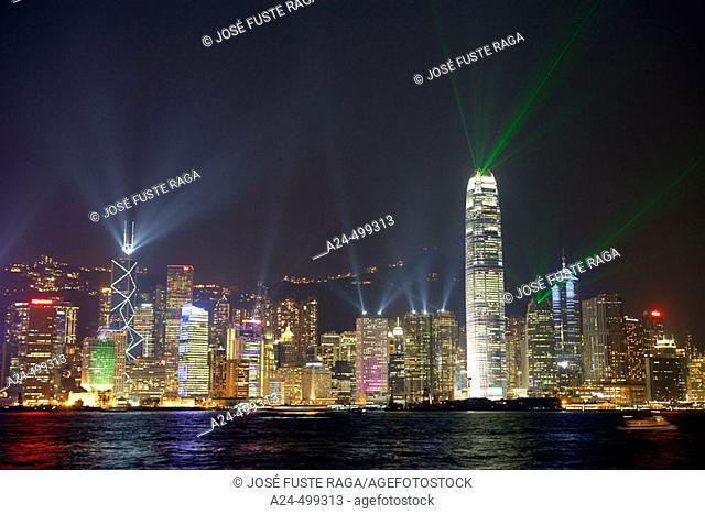 China, Hong Kong City, Central District, Laser show