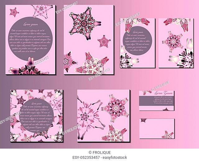 Pink star-like designed brochures, business cards and invitations. Nice hand-drawn illustration