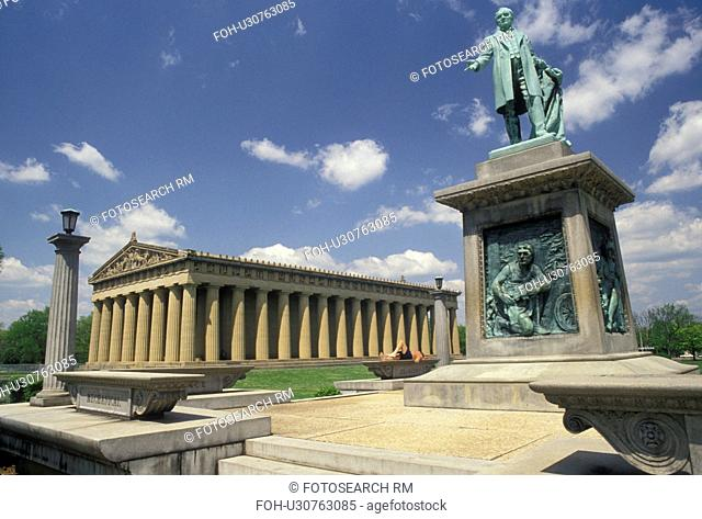 Nashville, The Parthenon, Tennessee, The Parthenon at Centennial Park, a full-size replica of the Parthenon in Athens, Greece in Nashville in the state of...