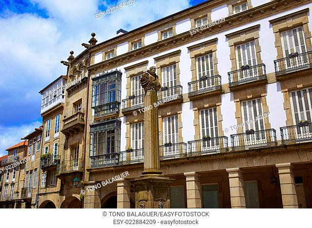 Santiago de Compostela end of Saint James Way Plaza de Cervantes square in Galicia Spain