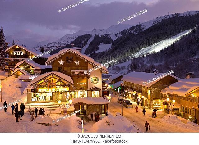 France, Savoie, Meribel, Massif de La Vanoise, Tarentaise, ski resort in the Three Valleys, the city center