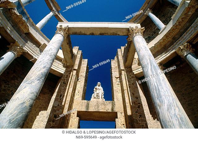 Stage. Roman theatre (1st Century BC) Mérida. Badajoz province, Extremadura, Spain
