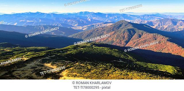 Ukraine, Zakarpattia region, Carpathians, Chornohora, Landscape with mountain Hoverla