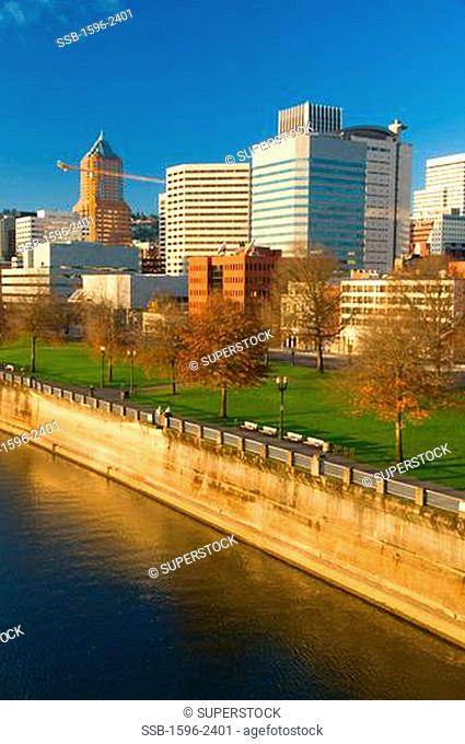 Buildings at the waterfront, Willamette River, Portland, Oregon, USA