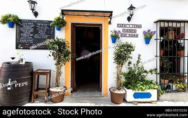 Bar, cafeteria, house facade, alley, white villages, Arcos de la Frontera, Andalusia, Spain, Europe