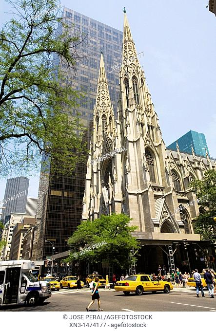 St. Patrick's Cathedral, 5th Avenue and 50th Street, Manhattan, New York, USA, United States, America
