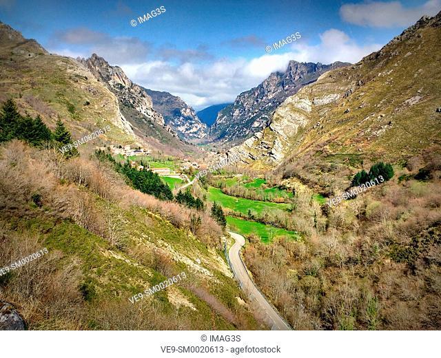 Somiedo valley and Gúa village in background, Somiedo Natural Park, asturias, Spain