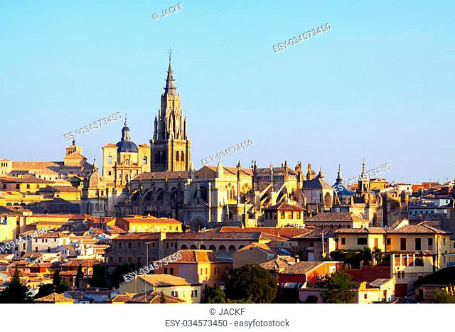 Primate Cathedral of Saint Mary in sunny time. Toledo, Spain
