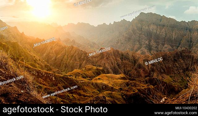 Breathtaking sunset over colorful mountain landscape at Delgadim viewpoint. Santo Antao Cape Verde Cabo Verde