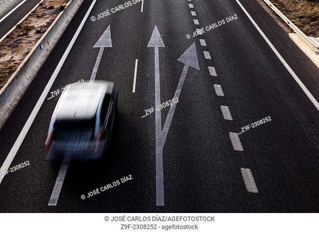 Car, road, road, track, arrow, V-30, Valencia, Spain