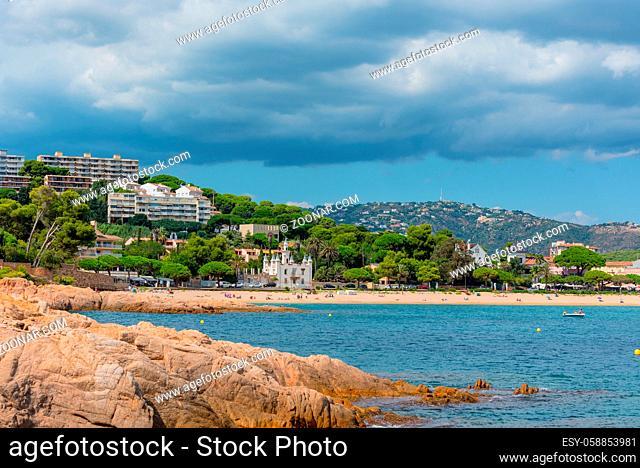 View to Sant Pol beach in the Village of Sant Feliu de Guixols at Costa Brava in Catalonia, Mediterranean Sea, Spain
