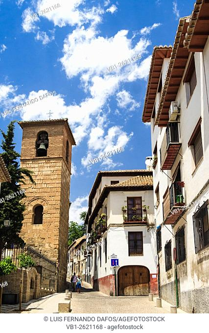 Minaret-belfry of San Jose at the UNESCO listed Albayzin quarter. Granada, Andalusia, Spain