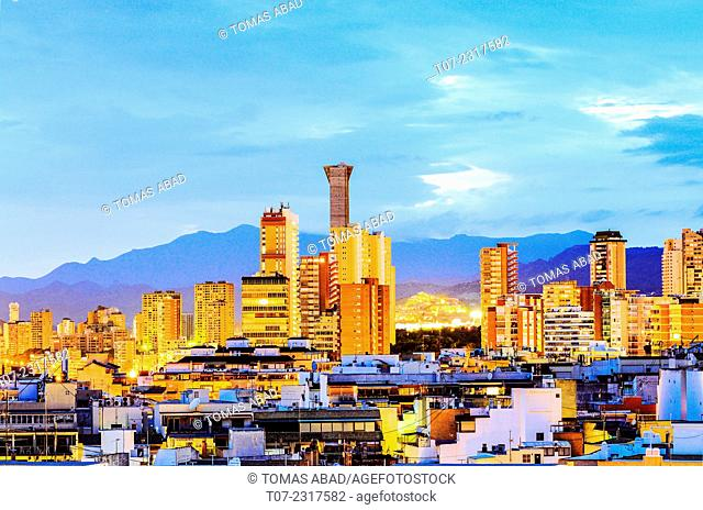 Cityscape of Benidorm, Province of Alicante, Costa Blanca, Western Mediterranean Sea, Southern Spain
