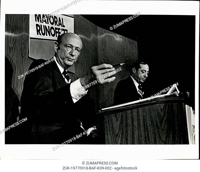Sep. 18, 1977 - Edward I. Koch (with pencil): In a debate with Mario M. Cuomo last day before Mayoral Runoff'77 election, won by Koch