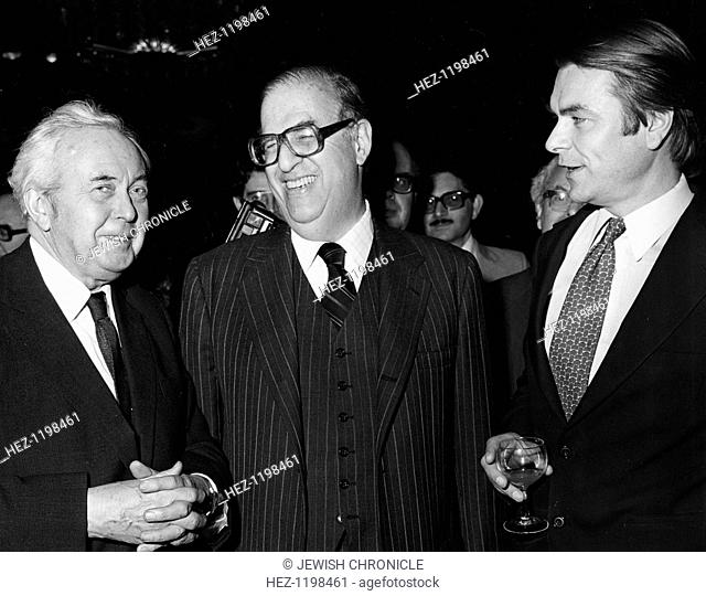 Abba Eban, Israeli foreign minister, Harlod Wilson, former British PM, and David Owen, British Foreign Minister, 1979
