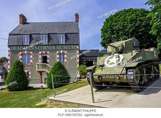 American M5 Stuart Light Tank at the Dead Man's Corner museum, WW2 museum at Saint-Côme-du-Mont, Saint-Lô, Normandy, France