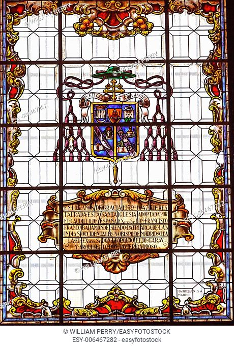 Stained Glass Coat of Arms Basilica Santa Iglesia Collegiata de San Isidro Madrid Spain. Named after Patron Saint of Madrid, Saint Isidore