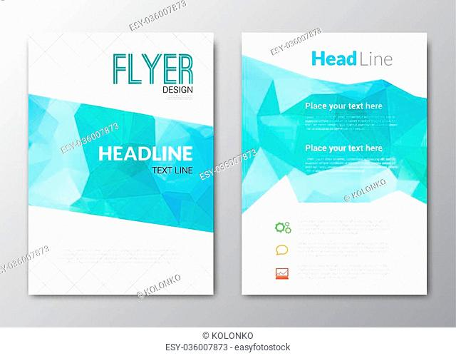 Business design template. Cover brochure book flyer magazine layout mockup geometric triangle polygonal shapes info-graphic, vector illustration