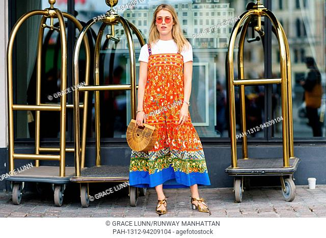 Annabel Rosendahl posing outside the Anne Vest runway show during Copenhagen Fashion Week - Aug 8, 2017 - Photo: Runway Manhattan/Grace Lunn ***For Editorial...
