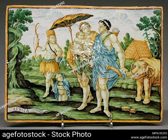 Africa (part of a set). Maker: Castelli; Designer: After a design by Charles Le Brun (French, Paris 1619-1690 Paris); Engraver: Engraved or published by...