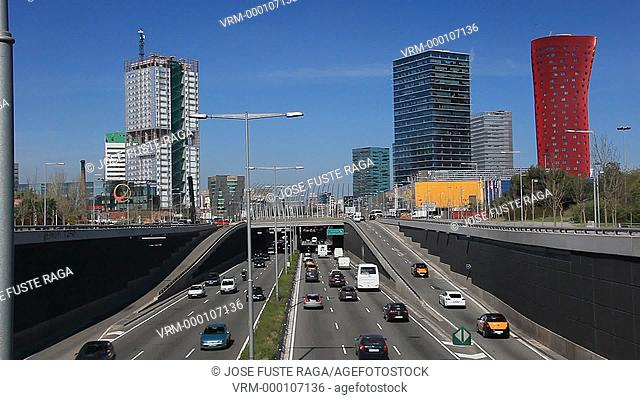 Spain, Barcelona Metropoli, Gran Via Avenue in Hospitalet City