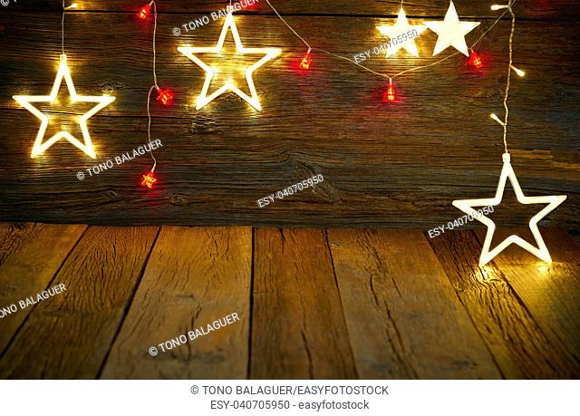 Christmas light stars vintage rustic wooden background decoration