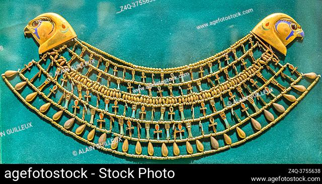 Egypt, Cairo, Egyptian Museum, from the tomb of Khnumit, daughter of Amenemhat 2, Dashur : Large collar (Usekh collar) depicting beads and Ankh, Djed