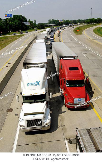 International border traffic jams are a common occurance at the Port Huron, Michigan (USA) and Sarnia, Ontario (Canada) border due to security checks