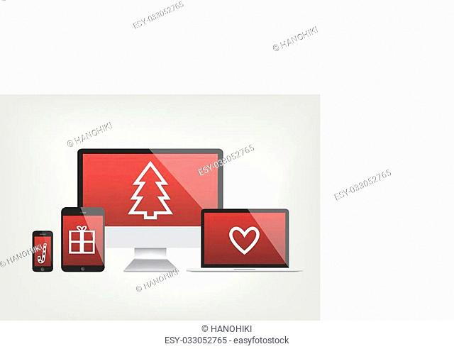 modern computer screens, notebook, phone, laptop displays - red screen with christmas icons - vector graphic