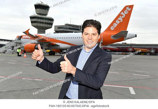 The European head of Easyjet, Thomas Haagensen, attends the press event for the first flight of the Easyjet airline in Berlin, Germany, 05 January 2018