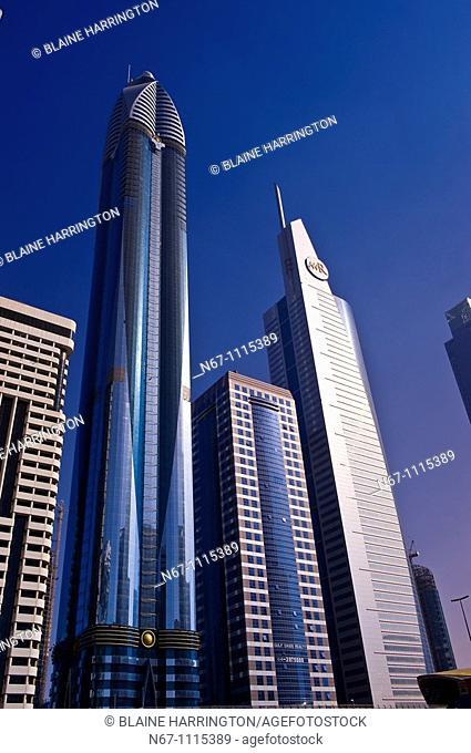 Skyscrapers on Sheik Zayed Road, Dubai, United Arab Emirates
