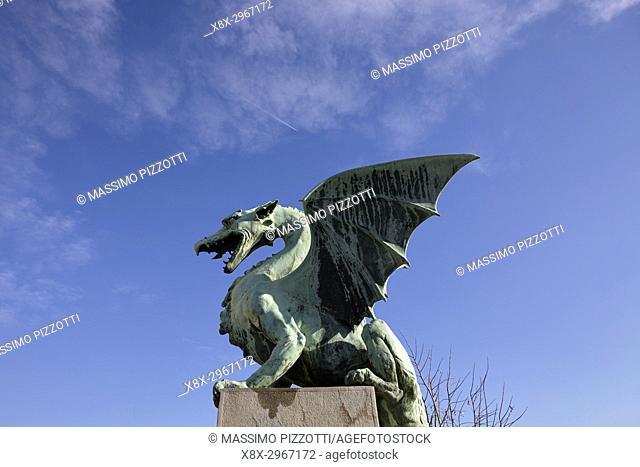 Dragon statue on the Dragon Bridge in Ljubljana, Slovenia