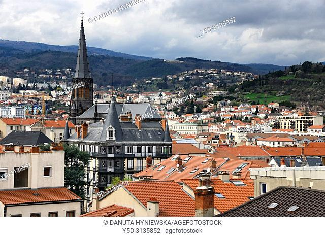 Panoramic view for Clermont-Ferrand, Eglise Saint Eutrope in background, view from town hall, Clermont-Ferrand, Puy-de-Dôme, Auvergne, Auvergne-Rhône-Alpes