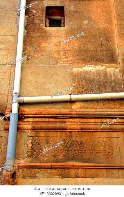 drainage pipe and sgraffito, district of Sants, Barcelona, Catalonia, Spain