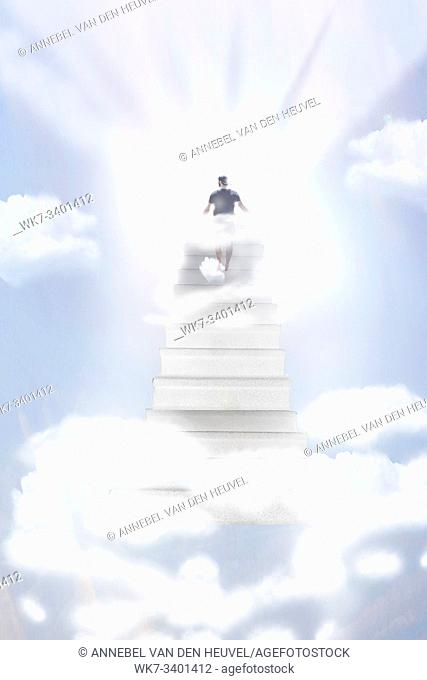 Stairway Leading Up To Heavenly Sky Toward The Light, Person walking to Heaven light blue sky
