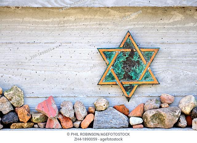 Berlin, Germany, Jewish Cemetery in Grosser Hamburger Strasse - Star of David and prayer stones
