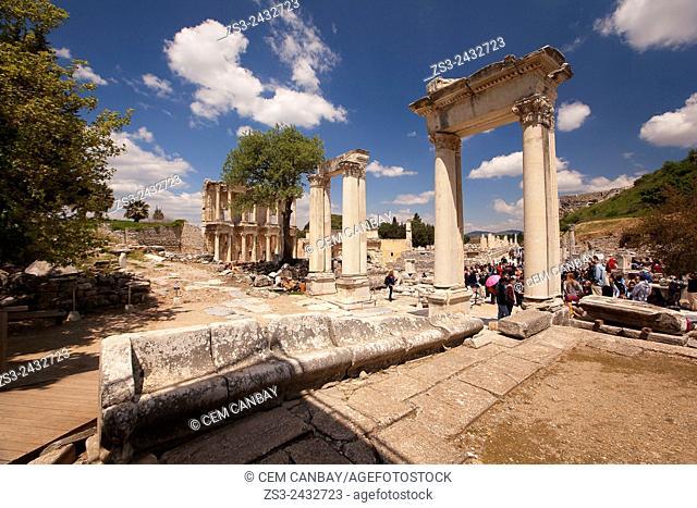 Tourists near the library of Celsus at the Roman ruins of Ephesus, Efes, Selcuk, Kusadasi, Turkey, Europe