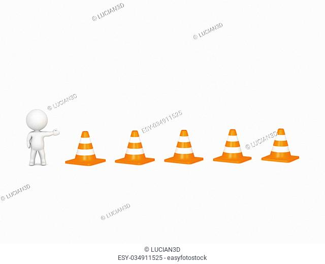 3D character showing orange road cones. Isolated on white background