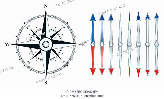 Compass with wind rose. Set the arrow of the compass. The illustration on a white background
