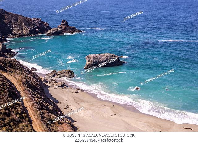 View of the ocean and beach along the Big Sur California coastline. California, United States