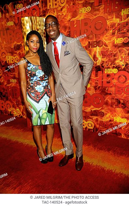 Shahidah Omar (l) and J. B. Smoove attends HBO's 2015 Emmy After Party at the Pacific Design Center on September 20th, 2015 in Los Angeles, California