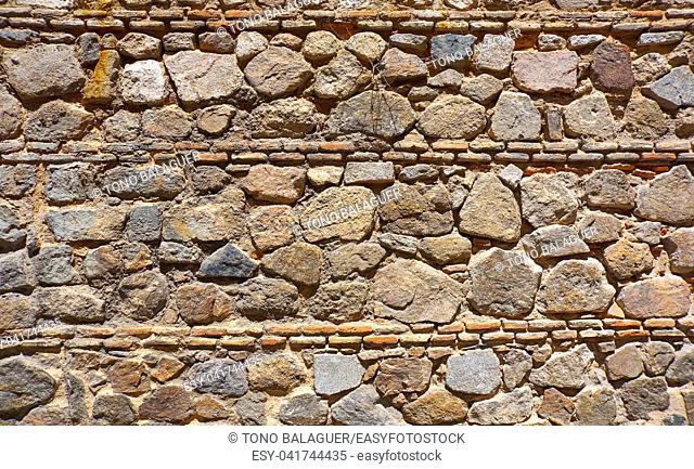 Toledo Juderia stonewall masonry wall texture in Spain