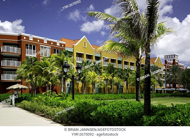 Colorful apartment building in Willemstad, Curacao, West Indies